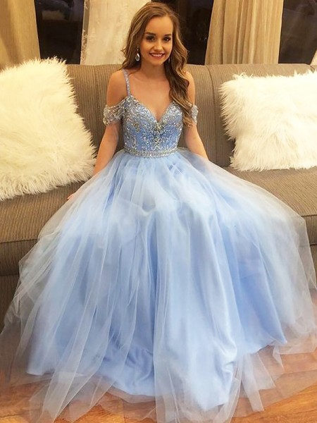 A-Line/Princess Sleeveless Off-the-Shoulder Beading Floor-Length Tulle Dresses