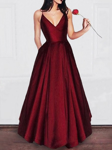 A-Line/Princess Sleeveless V-neck Ruffles Floor-Length Satin Dresses