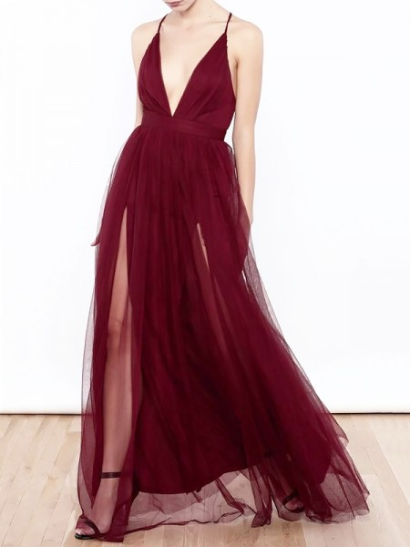 A-Line/Princess Sleeveless V-neck Ruffles Floor-Length Tulle Dresses
