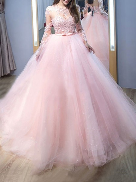 Ball Gown Long Sleeves Jewel Lace Sweep/Brush Train Tulle Dresses