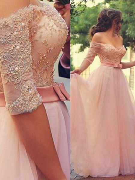 A-Line/Princess 1/2 Sleeves Off-the-Shoulder Lace Floor-Length Tulle Dresses