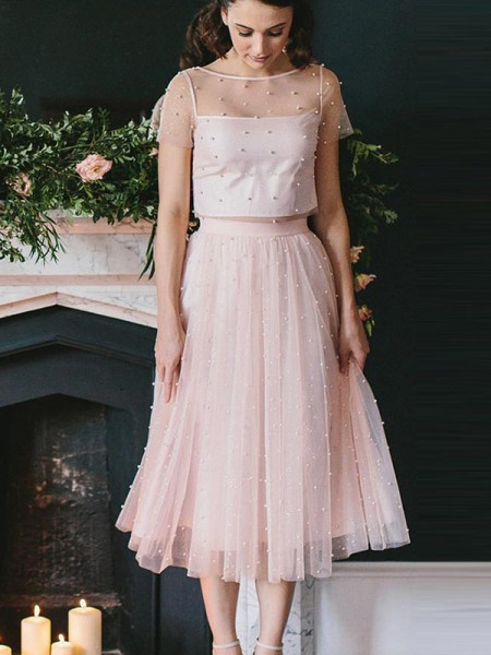 A-Line/Princess Short Sleeves Scoop Tea-Length Tulle Two Piece Dresses