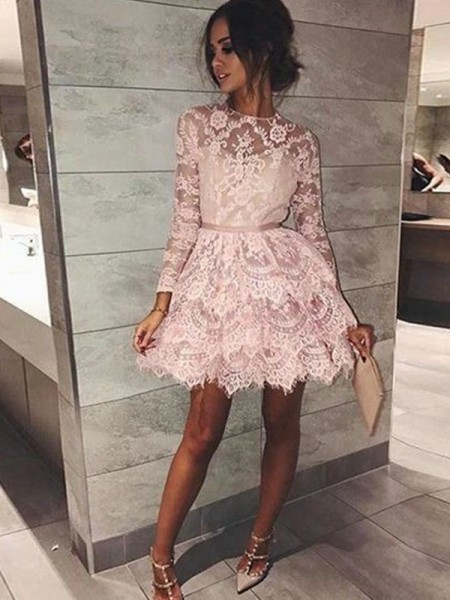 A-Line/Princess Long Sleeves Bateau Beading Short/Mini Lace Dresses