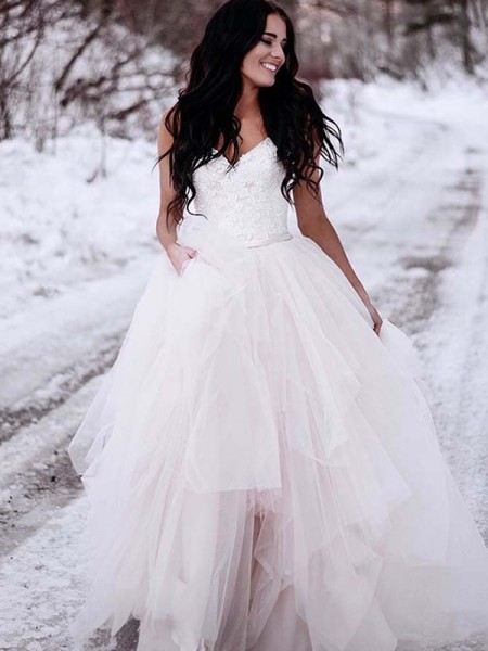 A-Line/Princess Sleeveless V-neck Ruched Floor-Length Tulle Wedding Dresses