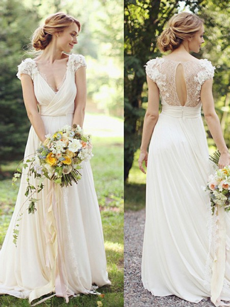 A-Line/Princess Short Sleeves V-neck Ruched Sweep/Brush Train Chiffon Wedding Dresses