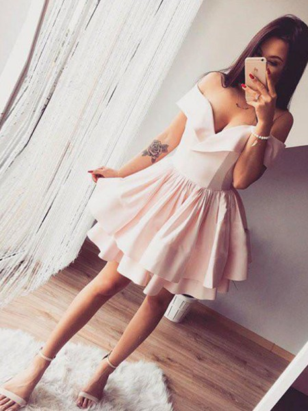 A-Line/Princess Sleeveless Off-the-Shoulder Ruffles Short/Mini Satin Dresses