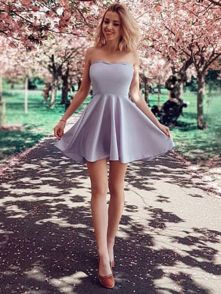 A-Line/Princess Sleeveless Strapless Ruffles Short/Mini Satin Dresses