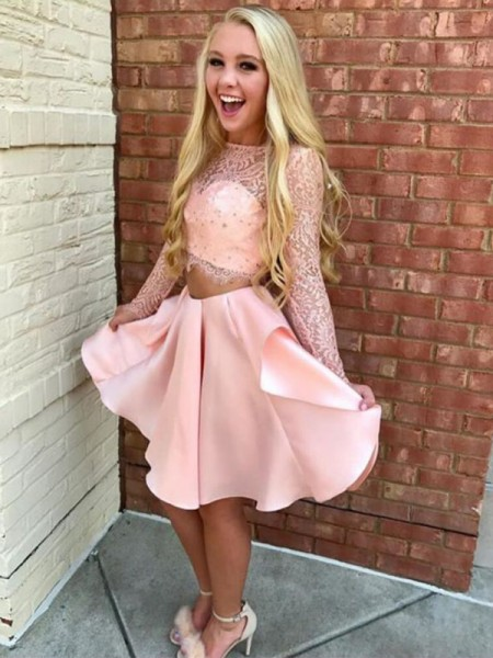 A-Line/Princess Long Sleeves Sheer Neck Lace Short/Mini Satin Two Piece Dresses