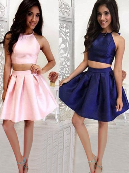 A-Line/Princess Sleeveless Halter Ruffles Short/Mini Satin Two Piece Dresses