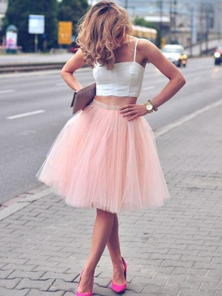 A-Line/Princess Sleeveless Spaghetti Straps Pleats Knee-Length Tulle Two Piece Dresses