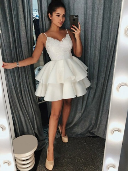 A-Line/Princess Sleeveless Spaghetti Straps Ruffles Short/Mini Satin Dresses