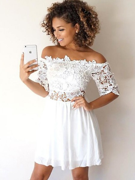 A-Line/Princess 1/2 Sleeves Off-the-Shoulder Applique Short/Mini Chiffon Dresses