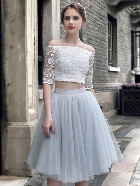 A-Line/Princess 1/2 Sleeves Off-the-Shoulder Ruched Knee-Length Tulle Two Piece Dresses
