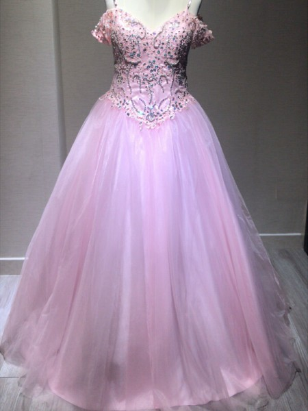 Ball Gown Sleeveless Spaghetti Straps Crystal Floor-Length Tulle Dresses
