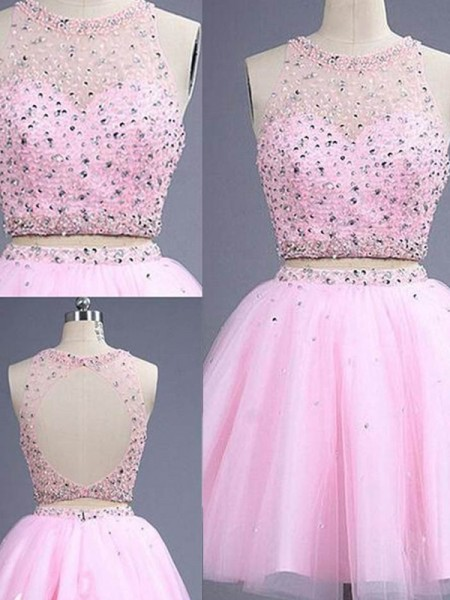 A-Line/Princess Sleeveless Scoop Beading Short/Mini Tulle Two Piece Dresses