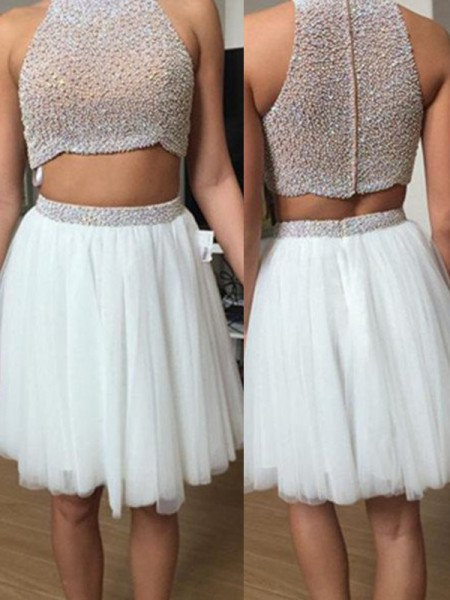 A-Line/Princess Sleeveless High Neck Beading Short/Mini Tulle Two Piece Dresses