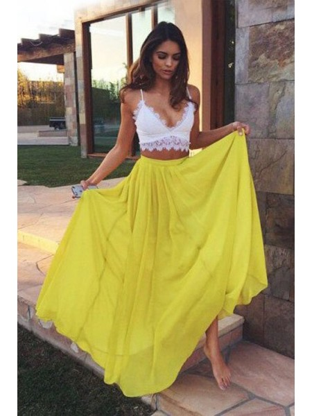 A-Line/Princess Sleeveless Straps Lace Floor-Length Chiffon Two Piece Dresses