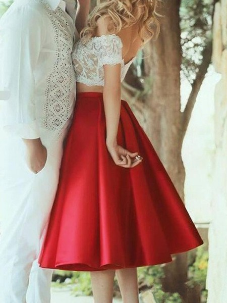 A-Line/Princess Sleeveless Off-the-Shoulder Lace Knee-Length Satin Two Piece Dresses