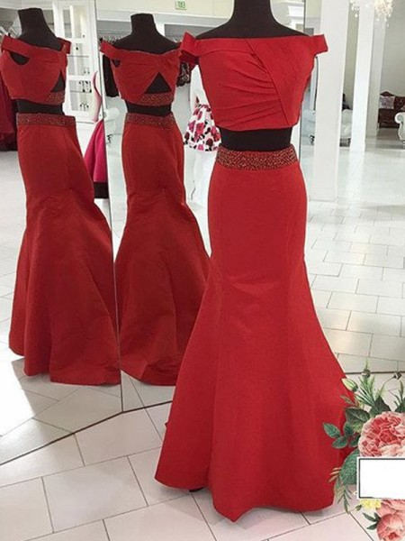 Trumpet/Mermaid Sleeveless Off-the-Shoulder Ruched Sweep/Brush Train Satin Two Piece Dresses