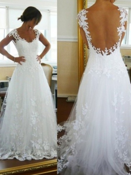A-Line/Princess Sleeveless V-neck Lace Sweep/Brush Train Tulle Wedding Dresses