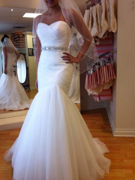 Trumpet/Mermaid Sleeveless Sweetheart Beading Court Train Tulle Wedding Dresses