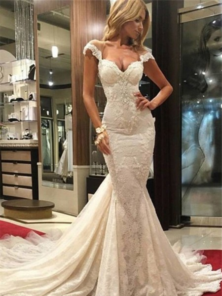 Trumpet/Mermaid Sleeveless V-neck Lace Chapel Train Lace Wedding Dresses