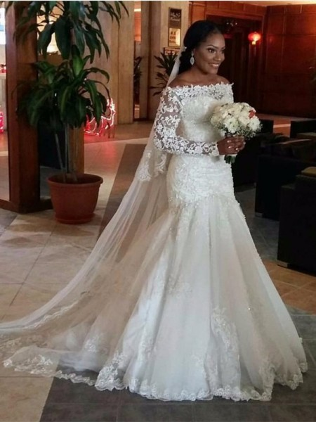 Trumpet/Mermaid Long Sleeves Off-the-Shoulder Lace Sweep/Brush Train Tulle Wedding Dresses