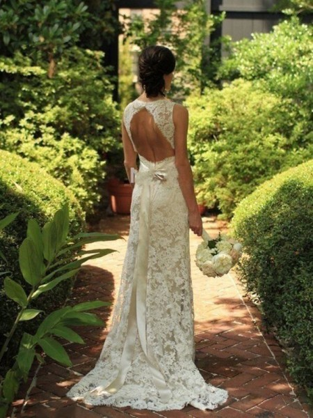 Sheath/Column Sleeveless V-neck Sweep/Brush Train Lace Wedding Dresses