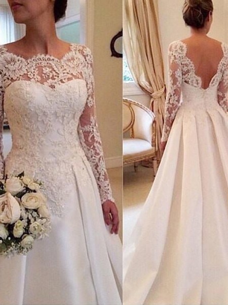 Ball Gown Long Sleeves Scoop Lace Court Train Satin Wedding Dresses