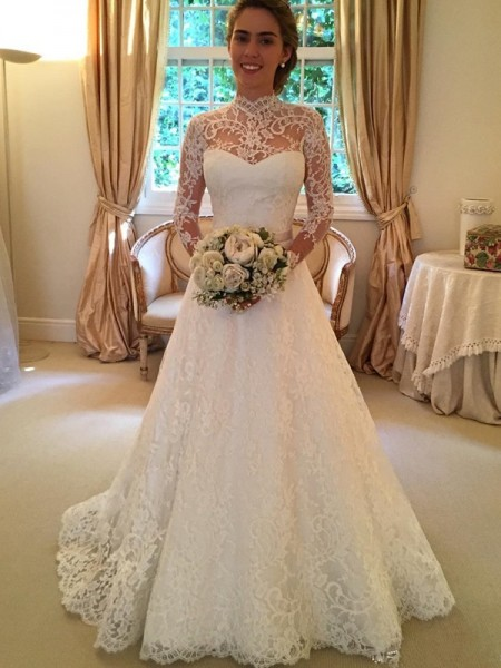 Ball Gown Long Sleeves High Neck Lace Court Train Lace Wedding Dresses