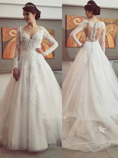Ball Gown Long Sleeves V-neck Lace Court Train Tulle Wedding Dresses