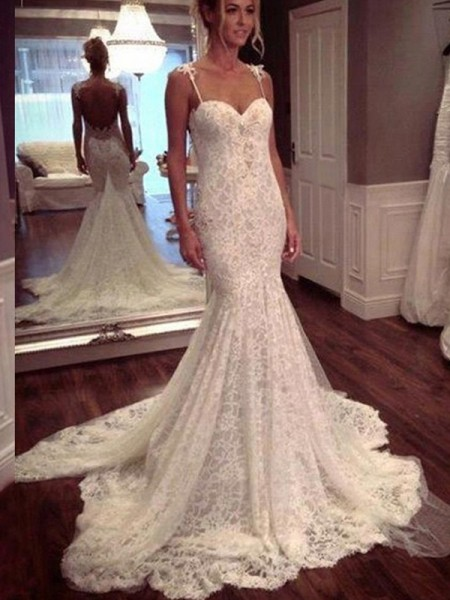 Trumpet/Mermaid Sleeveless Spaghetti Straps Lace Court Train Lace Wedding Dresses