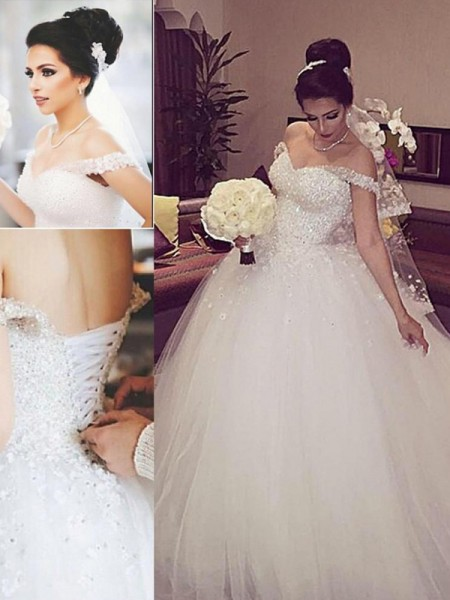 Ball Gown Sleeveless Off-the-Shoulder Lace Court Train Tulle Wedding Dresses