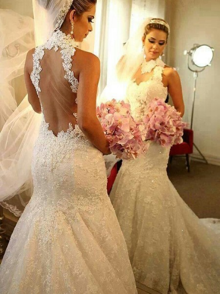 Trumpet/Mermaid Sleeveless High Neck Lace Court Train Lace Wedding Dresses