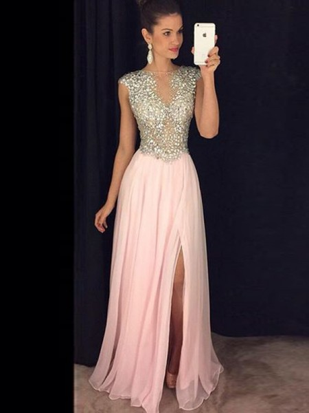 A-Line/Princess Sleeveless Bateau Sequin Floor-Length Chiffon Dresses