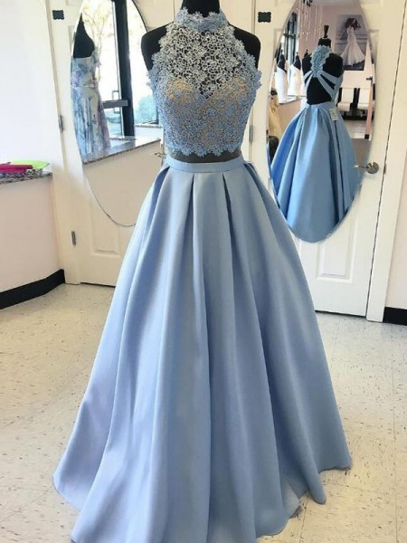 Ball Gown Sleeveless High Neck Applique Floor-Length Satin Two Piece Dresses