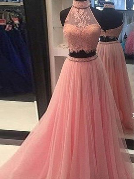 A-Line/Princess Sleeveless High Neck Lace Floor-Length Tulle Two Piece Dresses