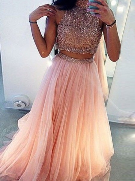 A-Line/Princess Sleeveless High Neck Beading Sweep/Brush Train Tulle Two Piece Dresses
