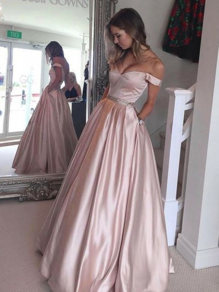 A-Line/Princess Sleeveless Off-the-Shoulder Floor-Length Satin Dresses