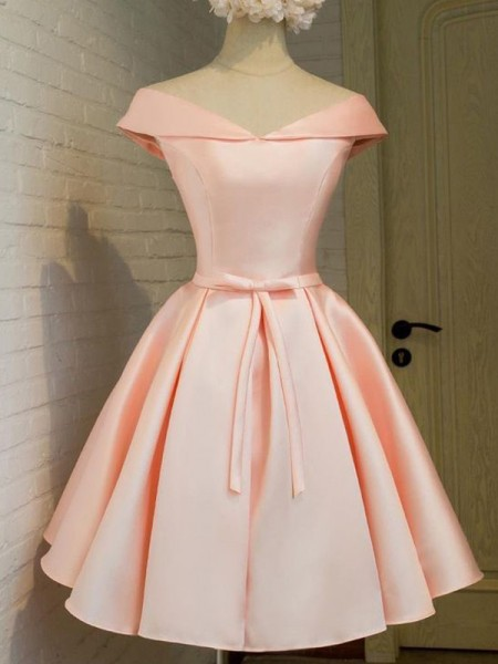 A-Line/Princess Sleeveless V-neck Sash/Ribbon/Belt Short/Mini Satin Dresses