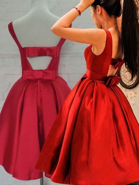 A-Line/Princess Sleeveless Scoop Sash/Ribbon/Belt Short/Mini Satin Dresses