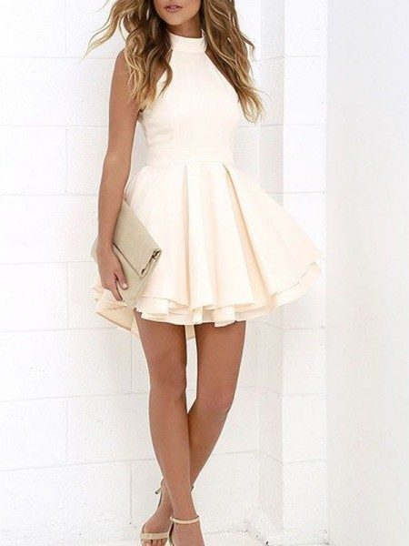 A-Line/Princess Sleeveless Halter Short/Mini Satin Dresses