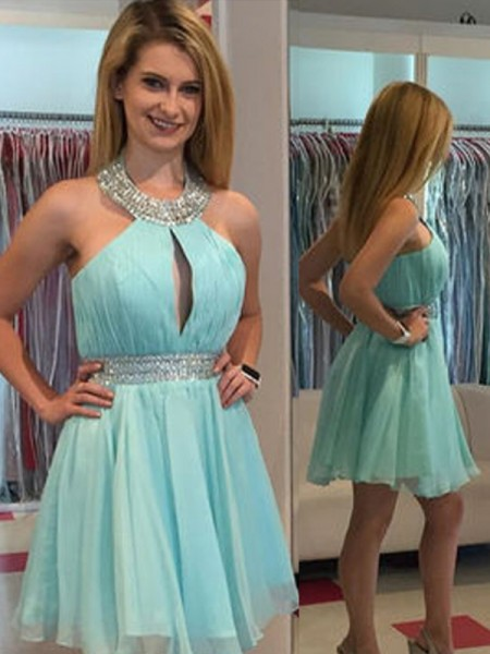 A-Line/Princess Sleeveless Halter Beading Short/Mini Chiffon Dresses