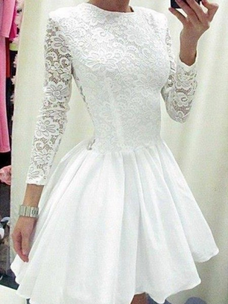 A-Line/Princess Long Sleeves Scoop Lace Short/Mini Chiffon Dresses