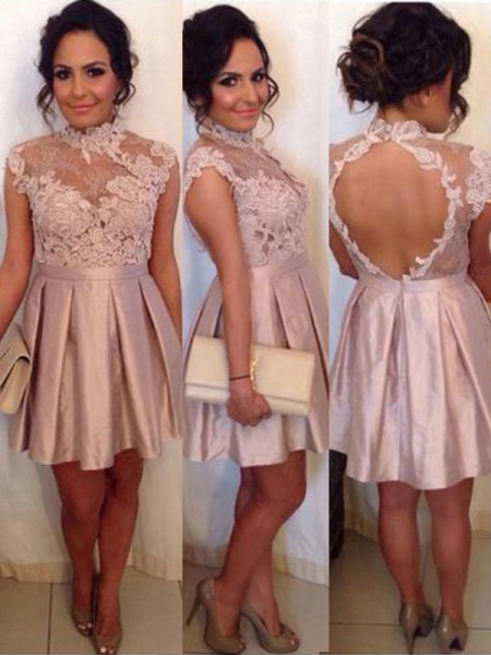 A-Line/Princess Sleeveless High Neck Lace Short/Mini Satin Dresses