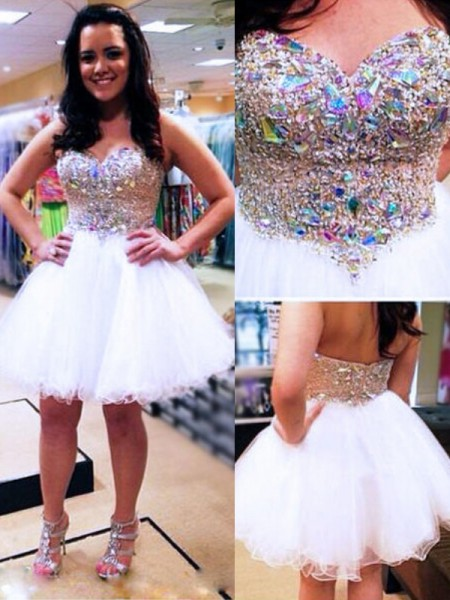 A-Line/Princess Sleeveless Sweetheart Beading Short/Mini Tulle Dresses