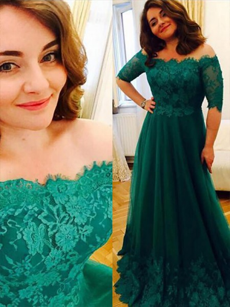 A-Line/Princess Short Sleeves Off-the-Shoulder Applique Floor-Length Tulle Plus Size Dresses