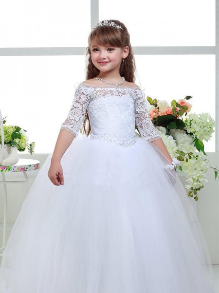 Ball Gown 1/2 Sleeves Off-the-Shoulder Lace Floor-Length Tulle Flower Girl Dresses
