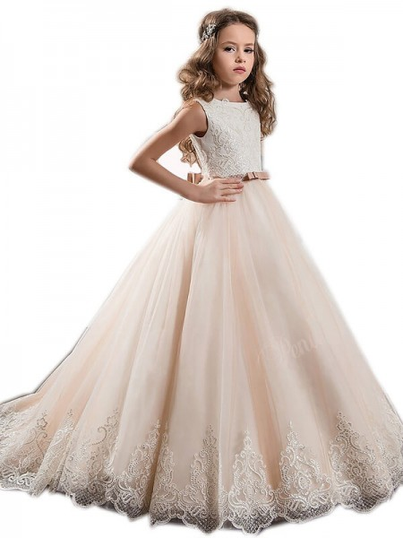 Ball Gown Sleeveless Jewel Lace Sweep/Brush Train Tulle Flower Girl Dresses
