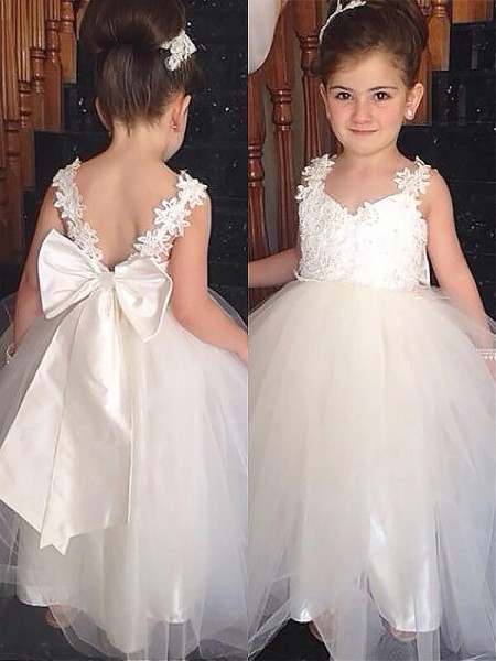 Ball Gown Sleeveless Sweetheart Bowknot Floor-Length Tulle Flower Girl Dresses